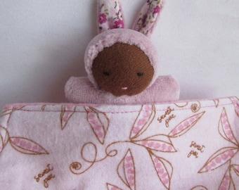 Waldorf doll, black baby, Germandolls, Pocket Doll, Steiner doll, handmade toy, tiny bunny doll