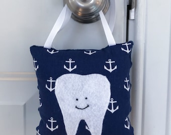 Tooth Fairy Pillow - Navy and White Anchors Tooth Fairy Pillow with Tooth Pocket - Ready to Ship