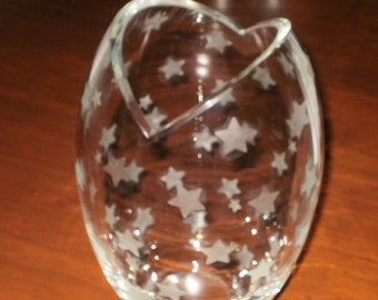Sale...Large Glass Vase Etched with Stars...Contemporary