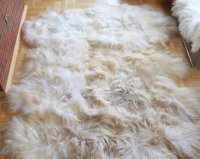 ON SALE Exclusive Genuine Natural rare ICELANDIC Sheepskin Rug, Pelt, soft long fur xxxxxl extra  Large  super soft fur - Octo