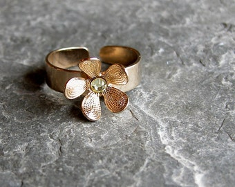 flower girl ring, Gift For Her, Adjustable Ring, Gold Flower Ring, Swarovski Crystal Ring, Bridesmaid Ring, Wedding Party, Wedding Jewelry,