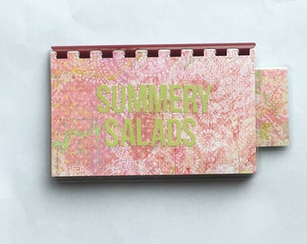 Handmade Pink 'Summery Salads' Blank Recipe book for Personal Recipes