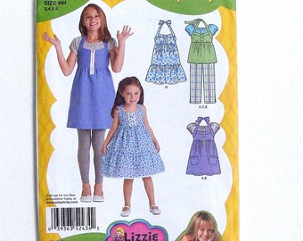 Simplicity Girls' Dress or Tunic, Cropped Pants & Knit Top Pattern #2434 - Size 3+4+5+6 (Breast 22+23+24+25) - UNCUT Factory Folded