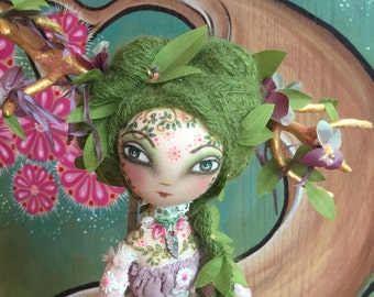 Spring Blossom and her mice.. art doll pose doll, gilded antlers with cherry blossoms,multi layered  pink lace dress, hand sculpted details