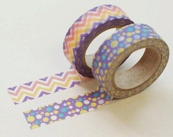 2 Set - Mystic Purple Adhesive Masking Tapes (0.6in)