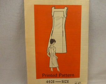 Vintage Mail Order Pattern 4923 Misses Size 16 Sleeveless Sheath Dress Factory Fold