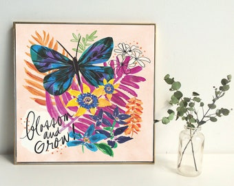 Illustration - Art Print - Butterflies - Plants - Lettering - tropical art - Blossom and Grow Art Print