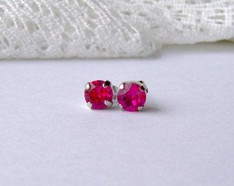 Hot pink rhinestone stud earrings / Swarovski / 6mm / fuchsia / gift for her / girlfriend gift / rhodium