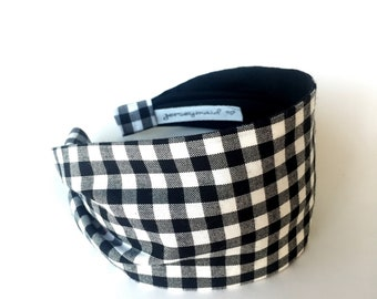 Black & White Gingham headband Women's Wide Fabric Headband . Gift for her . Headbands for women . Adult headband woman . Check Head band