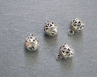 4 charms 9x11mm silver ethnic beads