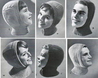 Knitted Helmet Hat Patterns for the whole family (set of 3) / balaclava patterns / Quaker helmet hat pattern