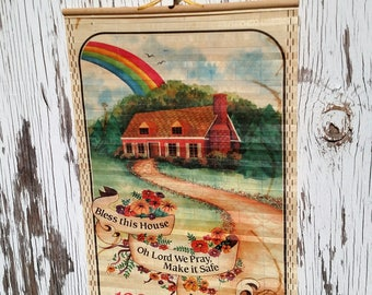 Vintage 1985 Bamboo Wall Calendar with Wildlife and Rainbow