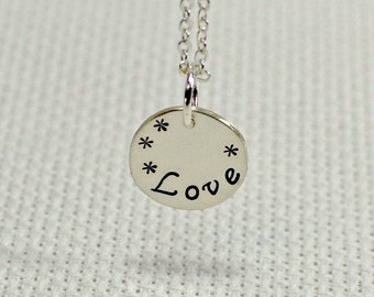 """dainty silver charm necklace handstamped with """"Love"""" - Solid 925 NL877"""