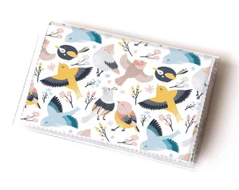 Vinyl Card Holder - Blossom  / card case, vinyl wallet, women's wallet, small wallet, gift, floral, bird, flowers, feather, pretty, cute