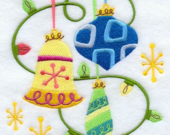 Retro Ornaments and Lights  Embroidered flour sack tea towel /dish towel