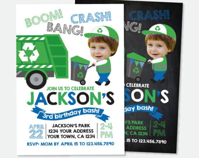 Trash Truck Invitation with Photo, Gargabe Truck Birthday Party, Recycle Birthday Invitation, Personalized Digital Invitation, 2 Options