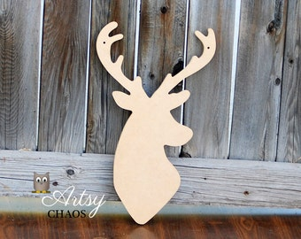 Unfinished Wood Cutout DEER Head Silhouette