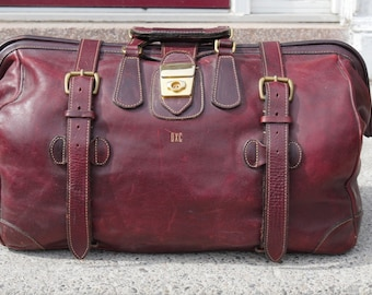 HOLLAND SPORT Leather duffle, doctors bag, Safari, Oxblood