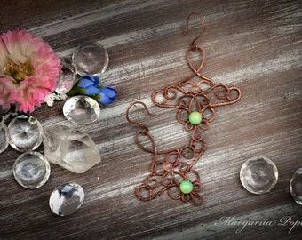Green chrysoprase earrings with rose quartz wire wrapped-Anahata Chakra healing-Boho Earrings