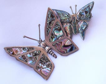 Vintage Sterling Silver Butterfly Brooches Mexico 925 Artist  Signed Eagle Stamp Abalone Butterflies