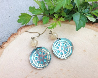 Bronze domed compass earrings