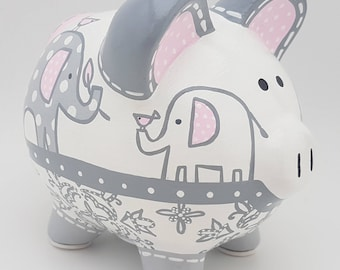 Taylor Elephant Personalized Piggy bank in Pink and Grey