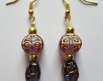 Purple Glass Earrings - Purple and Gold Earrings