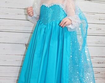 Girls Frozen Inspired Dress- Princess Elsa Dress up- Elsa Dress- Toddler Elsa Dress- Elsa Costume- Elsa Inspired- 2t, 3t, 4t, 5, 6, 7, 8