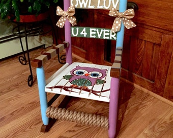Childs Rocking Chair, Kids Rocker, Kids Sized Chair, Hand Painted Rocking  Chair