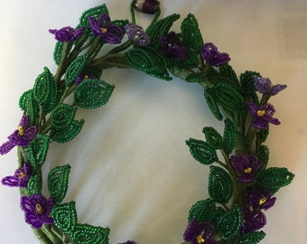 French Beaded Violet Wreath