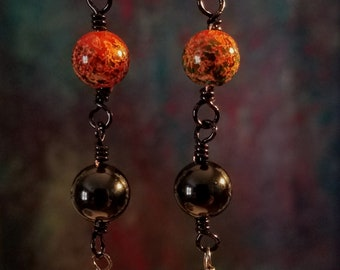 Glass and Onyx Earrings