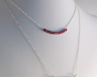 Silver Bar and Rubies,Ruby Birthstone,Ruby Necklace,Ruby Jewlery,July,Bar Necklace,Layered necklace,Layered,Necklace set,sterling