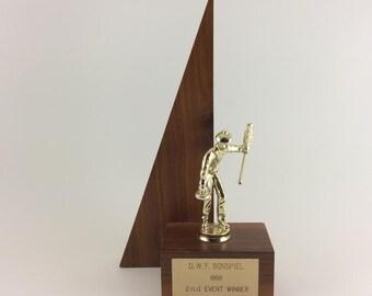 Curling Trophy Mid-Century Curling Trophy Wood Trophy 1969 Bonspiel Trophy Sports Trophy Mid Century Sports MCM Trophy Curling Stone & Broom