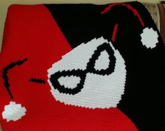 Crochet Harley Quinn Mask Throw or Blanket