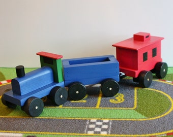 Toy Wooden 3 Piece Train Set - Engine, Coal Car and Caboose - Handcrafted Wooden Toy Choo Choo Train Set With 3 Cars