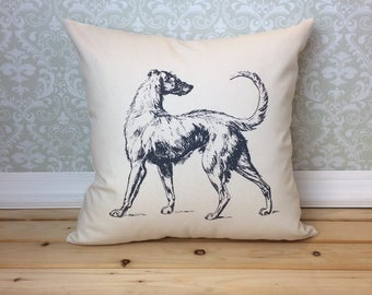 Vintage Irish Wolfhound Illustration Pillow Cover