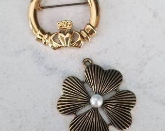 Irish Love:  4 Leaf Clover Pendant and Claddagh Brooch