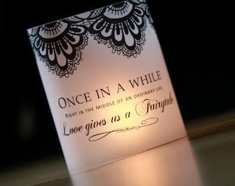Once Upon a Time luminary, Fairytale Decor Luminary, Wedding Luminaries, Black and White Wedding, Wedding Centerpieces- set of 10 Luminaries