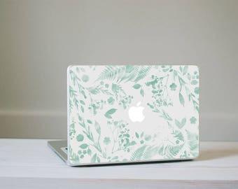 Flower Macbook Decal - Mint Green Watercolour Flower MacBook Laptop Skin
