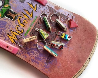 Upcycled colorful Skateboard OG Keychains Handmade by Steve Duque in RI Duque Skate Art Key chain recycled