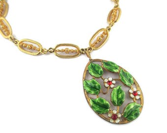 Floral Enamel Choker/ ACCESSOCRAFT N.Y.C Gold Tone Necklace /Large Green Enamel Leaf Pendant/ Red Rhinestones White Flowers