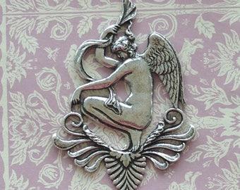 French LG Sterling Plate Goddess Angel Pendant(1pc)Vintage French Angel Silver Plate pendant/Art Nouveau Sterling Plate Goddess Pendant[L15]