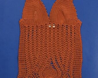 Top Gentryportofino knit women used crochet Sea Esttivo TG S Vintage T934
