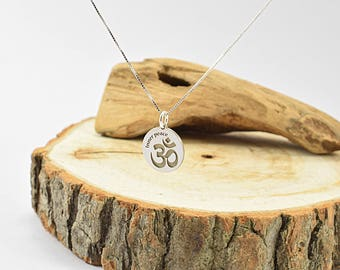 Mindfulness Gift, Om necklace, Inner Peace Necklace, Inspiration Quote Necklace, Inspirational Jewelry, Inspiration Necklace Sterling Silver