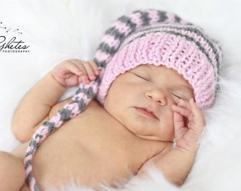 Newborn Girl Knit Hat BaBY PHoTO PROP Long Tail Stocking Hat PiNK GReY Stripe PiXiE BeANiE Coming Home Elf Toque CHooSE CoLOR Munchkin Cap