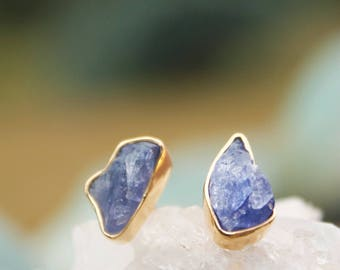 Natural Raw Tanzanite Stud Earrings set in Gold Plated Sterling Silver - Natural Raw Tanzanite Studs - Rough Gemstone Jewellery