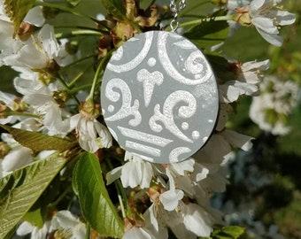 Silver and Gray circle pendant