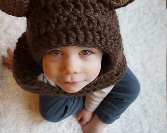 Teddy Bear Hood: Bear Costume, Toddler Costume, Hooded Scarf, Cowl, Hood Costume, Montessori, Confidence Hoods, Character, Social Skills