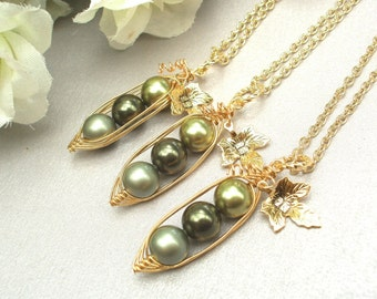 Peas in a pod, Set of 3,  Three Peas In A Pod Necklaces,  best friends necklace set