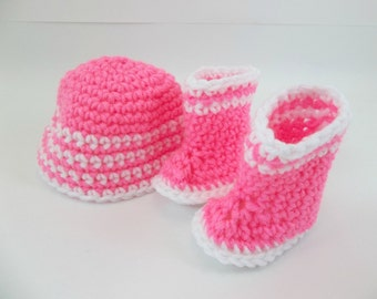 18 inch Doll Clothes Hot Pink and White Crochet Boots and Hat  to fit American Girl  Doll